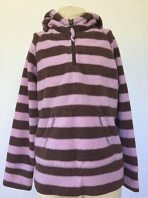 Girls Mini Boden Striped Fleece Top with Hood & Pocket. Pink & Brown. 9-10 years