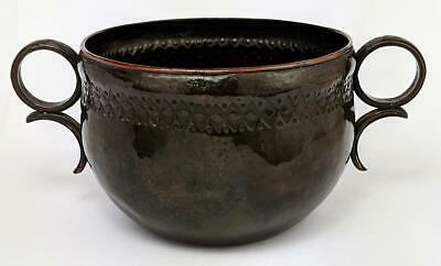 ARTS & CRAFTS ARTIFICERS GUILD STYLE HAMMERED COPPER SUGAR BOWL c1910
