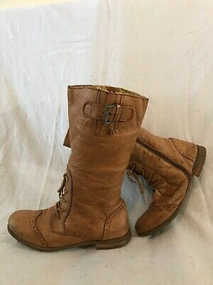 Next Light Brown Mid Calf Leather Boots Size 4 (223vv)
