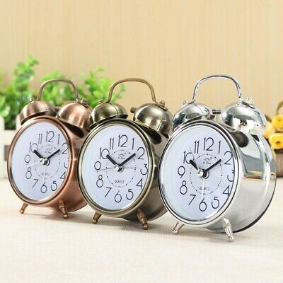 Vintage Retro Alarm Clock Silent Pointer Clocks Round Number Dual Bell For Home