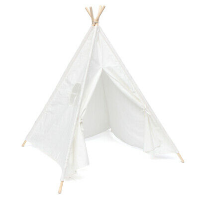 120x120x150cm White Canvas Kids Teepee Children Home Game Toy Play Tent Cubby