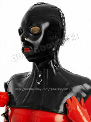 Latex Rubber Gummi Mask Hood blindfold circle holes customized .7mm lace up
