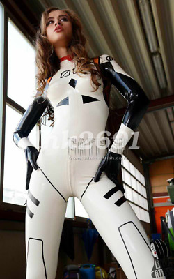 Latex Rubber White and Schwarz Tight Catsuit Overall Gummi Bodysuit S-XXL