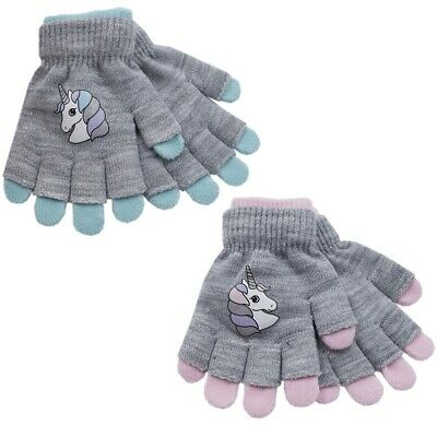 Girls Kids Sparkle and Unicorn 2-in-1 Magic Gloves One Size NEW