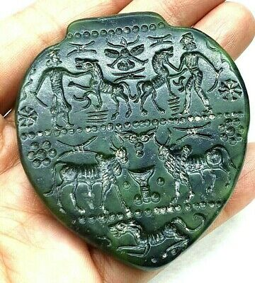 Ancient Jade intaglio Cow Worship Sacred water Man Tiger Flying Scarab Pendant