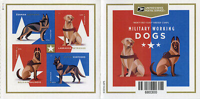 USA 2019 MNH Military Working Dogs Labrador 20v S/A Booklet Stamps