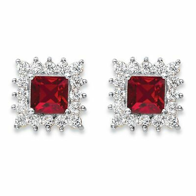1.06 TCW Red Crystal and CZ 14k Gold-Plated Halo Stud Earrings