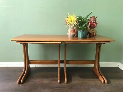 Teak Coffee Table Cantilevered Style Nest Of Tables Midcentury Retro Vintage 70s