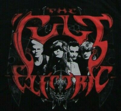 """THE CULT """"Electric"""" '80's British Rock Band Iconic Album Black T Shirt Size XL"""