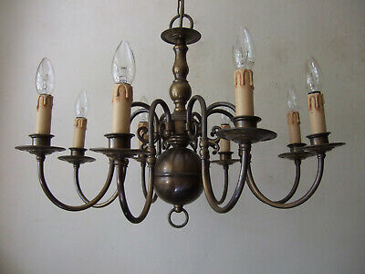 Large Antique Flemish all brass eight arm chandelier