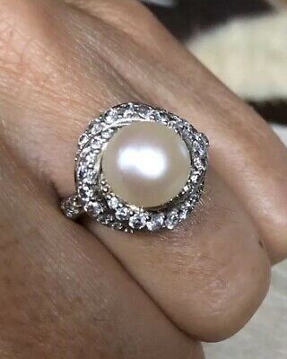 Vintage 925 Sterling Silver Multi-Gemstone Cz 9Mm Cream Button Pearl Ring 6.25