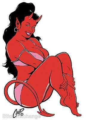 MINI SIZE Coop Sticker Decal Clothed Devil Girl CP4C