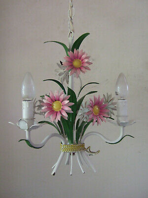 Antique Vintage Pretty  Three Branch Tole Chandelier With Flowers