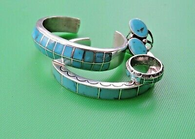 Vintage Southwest Sterling Silver Turquoise Inlaid Channel Set Bracelets & Rings