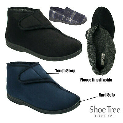 Mens Warm Fleece Lining Winter Ankle Bootie Touch Slippers Boots Shoes Sizes
