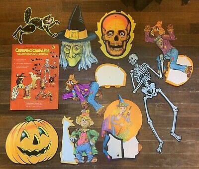 Lot / Set Of 9 Vintage 1970s Die Cut Beistle Halloween Decorations BONUS Book