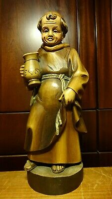 "✟ Vintage 13"" German Wood Carved Wine Beer Drinking Monk Friar Statue Figurine ✟"