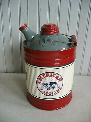 Vintage redone AMERICAN GAS Kerosene CAN Station Oil Sign 1 Gallon Spout 2 lids