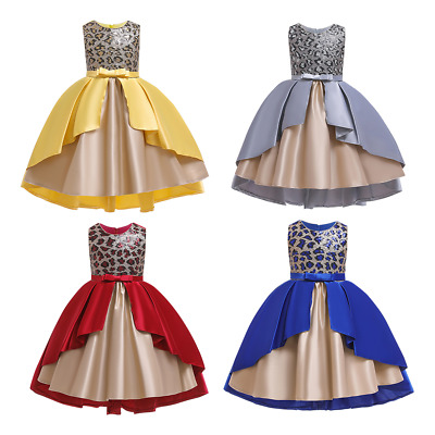 Flower Girl Princess Dress Sequin Leopard Pageant Wedding Formal Party Midi Gown