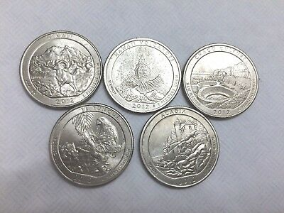 2012-P Philadelphia Minted Set Of 5  Brilliant America The Beautiful  Quarters