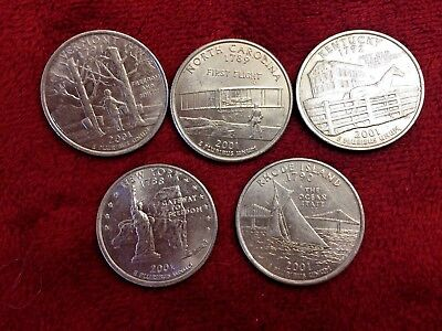 2001-D Minted Set Of Five Brilliant Us State Quarters