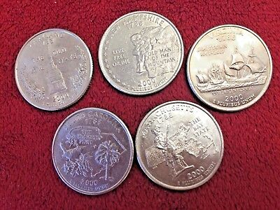 2000-P Minted Set Of Five Brilliant Us State Quarters