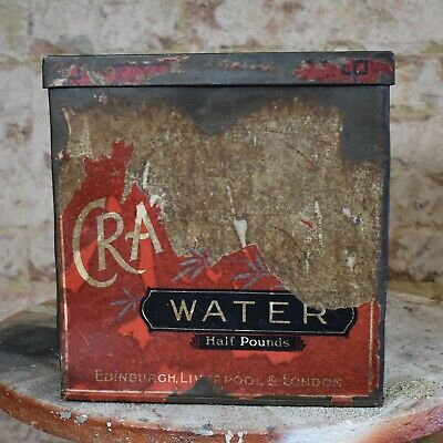 Antique Vintage Crawfords Water Biscuits Large Metal Tin Paper Covered