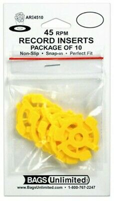 """Bags Unlimited 45 RPM Vinyl 7"""" Accessory Non-Slip Plastic Record Adapter 10 Pack"""