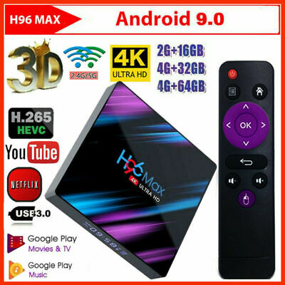 Smart TV BOX H96 MAX RK3318 4K Android 9.0 4GB 64GB Quad Core WIFI Media Player