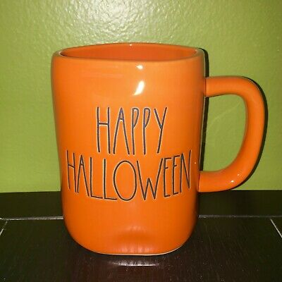 "New RAE DUNN Artisan Collection LL ""HAPPY HALLOWEEN"" Orange Mug By Magenta"