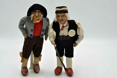 """Antique Original Pair of Ravca Tagged 10"""" Dolls Overall VGC!"""