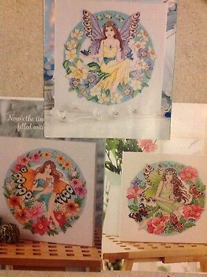 (A) Fairy Enchantment Three Flower And Butterfly Fairies Cross Stitch Chart