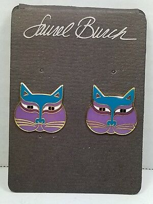 "Vintage 1980's Laurel Burch Signed ""Siamese Cats"" Post Earrings, New/on Card"