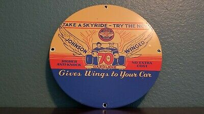 Vintage Johnson Gasoline Porcelain Gas Oil Auto Wings Service Station Pump Sign