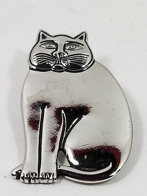 "Vintage 1980's Laurel Burch Signed Silver ""Sitting Cat"" Pin, Mint/Unworn"