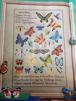 (A) Butterfly Collection Sampler Nature Wildlife Cross Stitch Chart