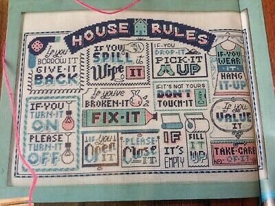 (A) Emma Congdon Home Truths Humorous House Rules Sampler Cross Stitch Chart