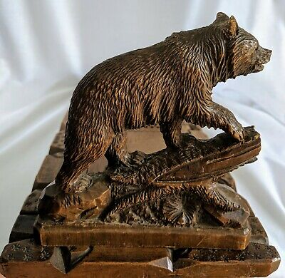 Antique Wooden Carved Black Forest Bear Book Slide / Book Ends - Adjustable