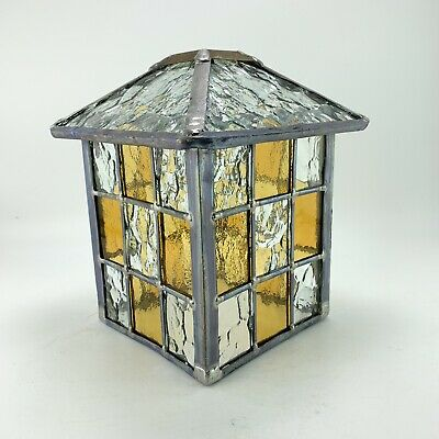 Vintage Stained Glass Leaded Light Fitting Lantern Porch Hall