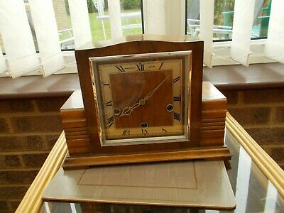 Art Deco Smiths Of Enfield Walnut Clock With Westminster Chime