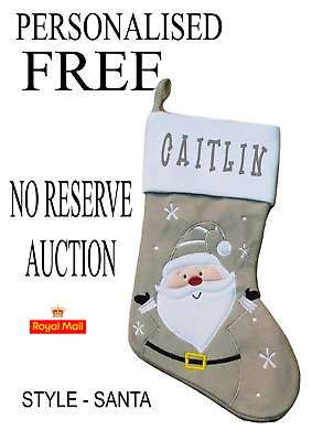 Personalised FREE GREY FULLY LINED SANTA Christmas STOCKING NO RESERVE AUCTION