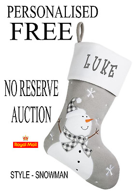 Personalised FREE GREY FULLY LINED SNOWMAN Christmas STOCKING NO RESERVE AUCTION