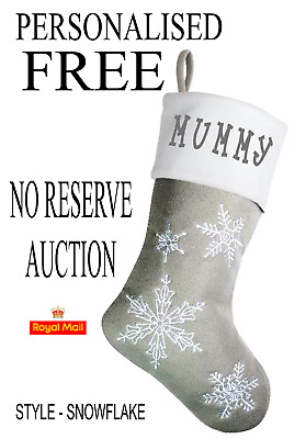 Personalised FREE GREY FULLY LINED SNOWFLAKE Christmas STOCKING NO RES AUCTION