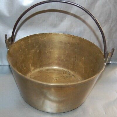 Victorian Heavy Brass Jam Cooking Pot Preserve Pan cauldron Handle 26cm diameter
