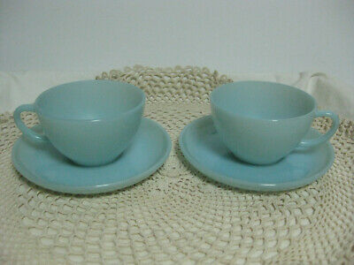 Fire King Turquoise Blue 2 Cups & Saucers Marked Vintage 1950s Anchor Hocking