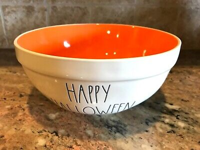 "Rae Dunn Halloween  Ceramic LL ""HAPPY HALLOWEEN"" Large Mixing Bowl Orange Inside"