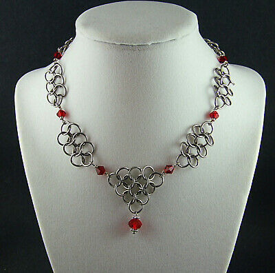 Red/Steel Game of Thrones Chainmail Necklace Dark Crystal Steampunk Renaissance