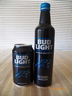 2017 Bud Light NFL Carolina Panthers aluminum bottle can beer empty collectible