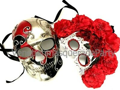 Red Day of the Dead  Flower Mask Pair Skeleton Feather Halloween Costume Party