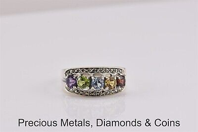 VINTAGE Sterling Silver Colorful Mixed Gemstone Tapered Band Ring 925 Sz: 8